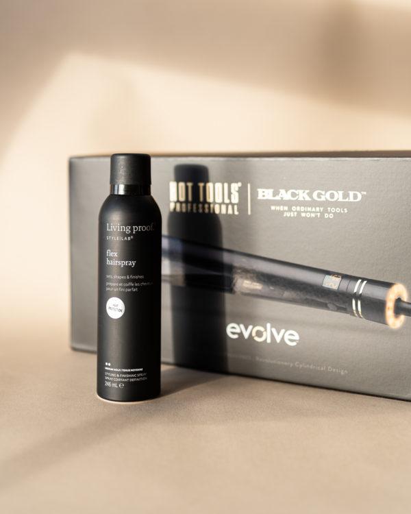 Hot Tools Black Gold-muotoilurauta + Flex-hiuskiinne